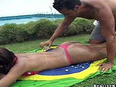 Slutty Brazilian chick takes her bikini off and gets her vagina licked. After that she also gets fucked rough in POV scenes.
