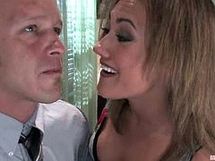 Blonde mistress ties a guy up and whips him painfully. After that she sucks his dick and toys her pussy with a vibrator.
