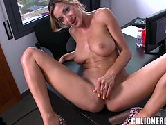 Hot passion in the office with a sizzling blond siren Alice Romain