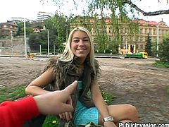 Lovely blonde girl from Prague meets some guy in a park. She gives him a blowjob for money. Later on she lifts her skirt up and gets fucked from behind. Then she also gets her face cum covered.