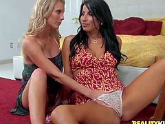 Brianna Ray and Sophia Bella are two good looking milfs that give lesbian sex a try. Raven haired slim woman in white lace panties spreads her long legs and gets her pussy stroked by curious blonde.