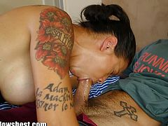Stepmom Dana Vespoli is looking super hot and cool. She founds her step-son jerking off and gets super horny.  She decides to give him a 'hand'. Watch as naughty stepmom gets her throat fucked and filled with jizz.