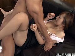 What a charming and slutty office siren Yuu Namiki is! She gets naked and that thick cock is getting deep in her wet beaver! Oh, man, she is perfect!