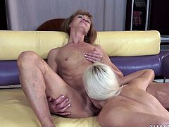 Alexa Wild and Katherin are playing dirty games indoors. The girl pleases the old lesbian with cunnilingus and then they sit down on the sofa and finger their juicy cunts.