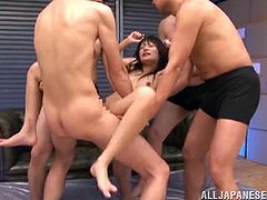 After getting all her erogenous zones stimulated by vibrators, this Asian girl is going to be fucked and jizzed by all these fellas.