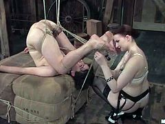 The most passionate and the cruelest bitch is back to humiliate a man slave! She ties him up all over and starts pushing his body with her sharp high heels.