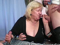 Busty granny and two young cocks will entice your horny fantasies today. These newbies get the best of this filthy oldie as they enjoy sharing her holes for one nasty threesome encounter.