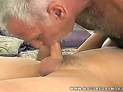 Two hot mature silverdaddies fuck bareback style in a cheap motel.