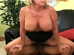 Chubby blonde milf pleases some dude with a blowjob. Then she lets the guy drive his schlong into her hot depths and enjoys ardent sex in cowgirl, missionary and other positions.
