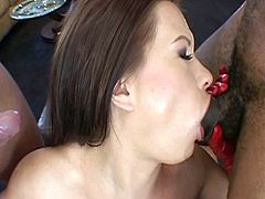 She should never tease her neighbors like that, now she had to pay the price with her pussy.These two hot hunks loves fucking her both holes.One guy with hard white cock and other is horny black stud with long black cock.She is happy to have the both flavors.