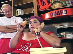 Watch a perverse purple-haired Bbw lifeguard as she blows her superior's cock in this office. Then she's ready to take it all off and fuck wildly on the desk.