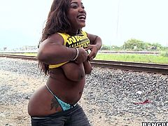 Get a load of this ebony babe's massive ass and her huge natural tits in this hardcore video before she's smashed by a big cock.