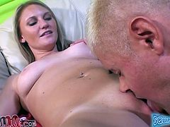 Nasty MILF fondles her tits and gets her vagina toyed with a dildo. After that she also gets her pussy licked.