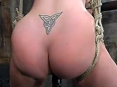 This smoking hot and petite babe Darling is enjoying her time. She gets poked deep in her snatch, being tight on the yoke bar. A lot of pain, ha?