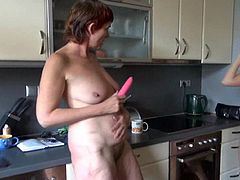 redhead granny goes wild in the kitchen