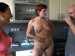 Old whore Henrietta is in the kitchen, wearing only her pink high heels and fucks her hairy pussy with a pink dildo. She self pleasures until she's disturbed by these two. Well, if they interrupted her fun at least they can help so they all go in the bedroom where Henrietta shares some of her sexual experience!
