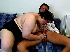 Lewd fat old bitch Peggy gives a blowjob to some dude and turns him on. Then she sits down on the schlong and rides it moaning loudly with pleasure.