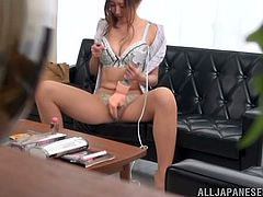 There's a hidden camera in this dude's office and he's got it aiming the couch as in there girls toy their pussies and allow him to fuck them hard.