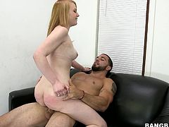 Lovely blonde babe strips her clothes off and toys her vagina at an casting. Later on she gets her tight pussy fucked hard.