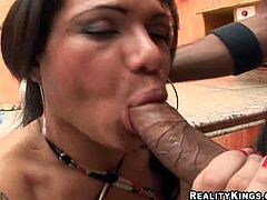 The busty brunette ladyboy in this clip is going to take a hardcore ass pounding by a black stud who makes her moan with pleasure.