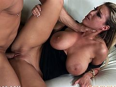 See the busty babe Memphis Monroe enjoying herself big time when getting her twat fucked hard doggystyle, cowgirl and missionary.