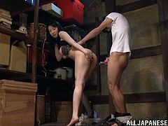 Busty Japanese MILF sucks a dick and gives a titjob standing on her knees. After that she also gives a handjob and gets her juicy tits licked.