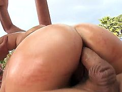 Experienced black haired mature hooker Ashli Orion with small tits and cheep make up in red bikini sucks Jordan Ash and Ramon while the fuck her in huge round ass.