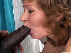Lustful old maid Isida works hard trying to satisfy meaty cock of three horny black studs. They penetrate her deep throat and drill her stretched skilled snatch.