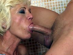 This granny is quite a talented cock sucker. She sucks that rock hard dick greedily and then she makes her lover lick her hairy snatch.