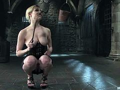 Blonde mistress ties up and suspends Jeff Sinclaire in a basement. Then she fixes clothespins to his dick and toys the ass with a strap-on. Later on she also rides his big black cock.