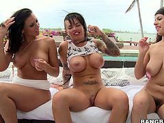 These sizzling and horny babes named Christy Mack, Jessica Bangkok, Layla Rose and Rachel Starr are going to explore each other's tight beavers!