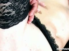 Smoking hot curly haired bitch with pretty face gets her shaved trench banged doggystyle right in her office. She rides her man on top flaunting her sexy legs in tight nylon stockings.