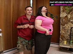 The guy takes body measurement of this big fat girl. The numbers of her bust and belly are enormous. Big sized model takes off her clothes and gets down on her knees sucking big dick deepthroat.