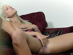 Are you seeking for delight? Then press play and enjoy steamy Babes sex clip. Gorgeous svelte blondie gets rid of her pink tight dress and heels. Appetizing booty cutie lies onto the couch and fingers her wet pussy passionately.