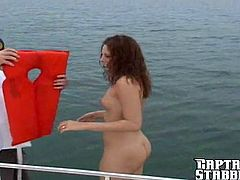 Delightful girl with curly hair sucks the guy off on a boat. After that she gets her smooth pussy fucked nice and deep.