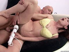 This horny dude knows how to satisfy his woman's sexual needs. He pounds her hairy snatch missionary style. Then she gets into sideways pose to let him control the penetration.