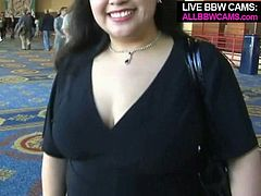 Handsome dude picks up attractive BBW hottie in a public place. The girl easily agrees to follow the guy whenever he takes her because he promised he's gonna fuck her hard.