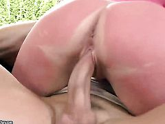 Blonde Natasha Brill with juicy tits shows her hole to lucky dude before he fucks her hole