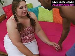 Filthy bitch with plump body shape has got seduced by horny black stud. He loves white fat ass bitches. Naughty redhead bitch gave him professional blowjob.