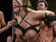 James Deen fucks Trina Michaels after putting her into irons