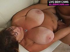 Voracious mature woman with fat round body gives stout blowjob and titjob before getting pounded doggy style. After hot doggy she is screwed missionary style.