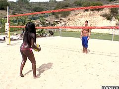 Valley ball has never been so entertaining before this ebony babe decided to play. Get a load of this hottie's stunning body in a mini bikini before she's fucked by this lucky bastard.