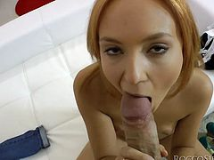 This blondie is the complete package. She has a heart-stopping face, small perky tits and a nice round ass. Incredibly-perverted nympho gets down on her knees and starts sucking her lover's dick passionately.