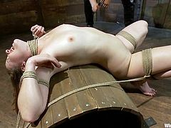 Sexy slave girl gets tied up and tortured with electricity by her nasty mistress. Later on she gets her wet pussy toyed with a vibrator.