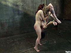 Iona Grace and Krysta Kaos get pulled by the nipples in a basement. Then some guy binds them and forces the sluts to lick one another's coochies.