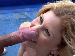Hot blonde chick takes her clothes off and gives deepthroat blowjob right on the deck. Then she rides that big cock and gets her happy face covered with cum.