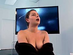 Missy Minks is the object of Bobbi Starr's perversions! She ties her up in that weird device and penetrates her pussy with toys!S