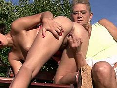 Granny seduces her son's GF outdoors and gets super hot. Old lady lures young girl into lesbian sex as she feels her young tits and the proceeds to toy her pussy and masturbate. Nasty!