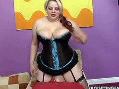 Chubby mommy with huge boobs is looking seductive wearing tight black corset and nylon stockings. She seduced the guy so now she rides his face getting her clam polished properly.