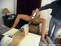 Cute blonde Nikki wearing black stockings is playing dirty games in her room. She takes a ride on a fucking machine and moans sweetly with pleasure.
